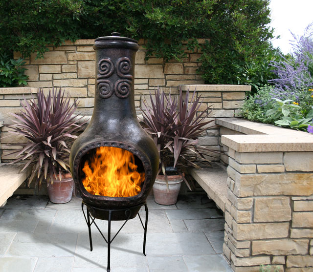 chimenea outdoor heating fire place patio