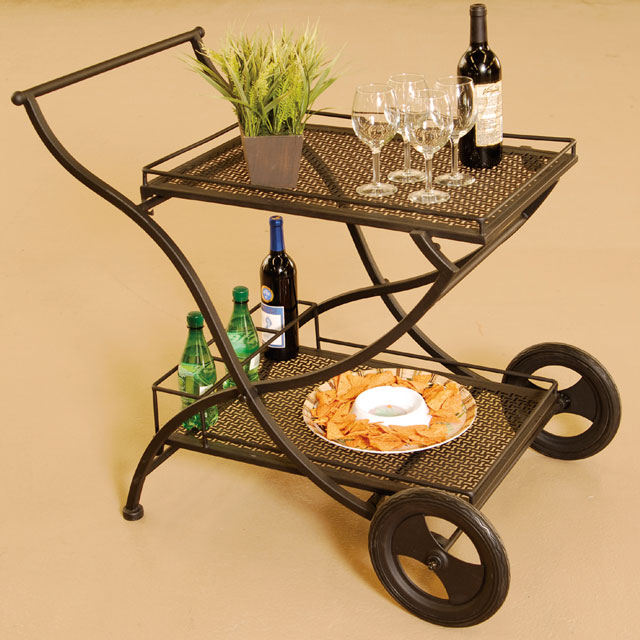 serving cart, metal, brown outdoor