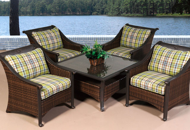 wicker patio set table storage plaid cushions outdoor