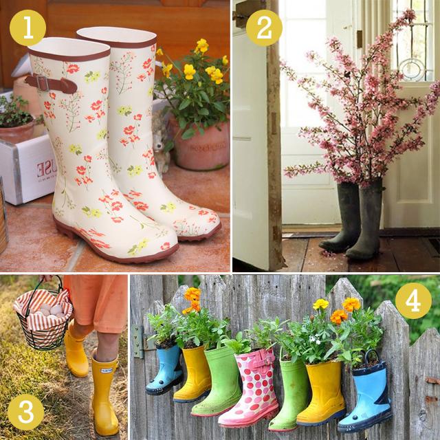 garden boots, planters, wellies