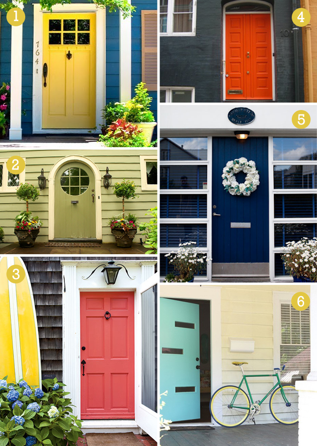 colorful front door examples coral yellow navy blue green orange teal