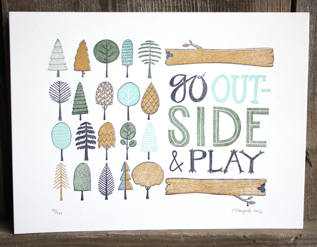 outdoor living letterpress
