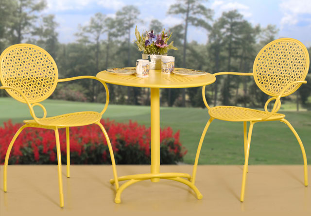 yellow patio set chic simple