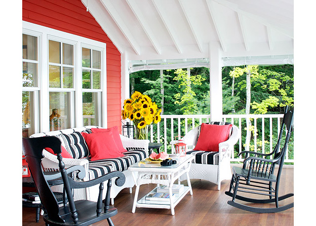 summer bright colored sunroom porch