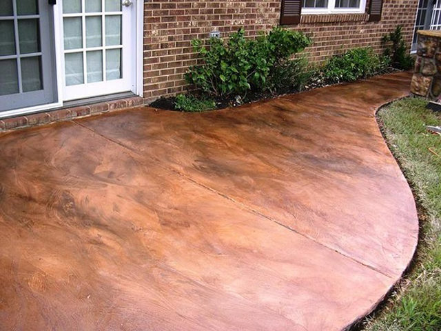 Weekend diy stained concrete willard and may outdoor for How to clean outdoor stained concrete